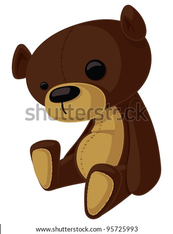 This is a vector cartoon of a Teddy Bear with wonky eyes. - stock vector