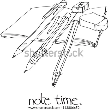 This is a vector file of note time.This file is sketch on my imagination - stock vector