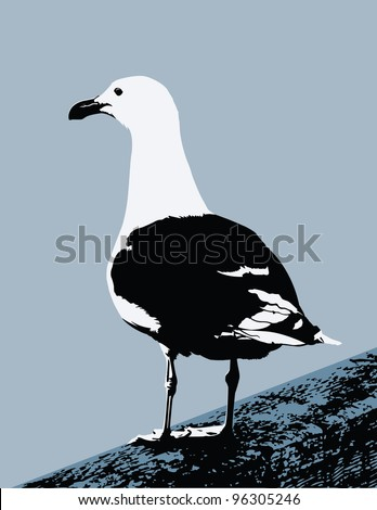 This is a vector graphic of a seagull standing on a plank (only the plank was live traced).