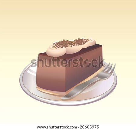 This is a vector illustration of a piece of Chocolate pie on a plate with a fork. - stock vector