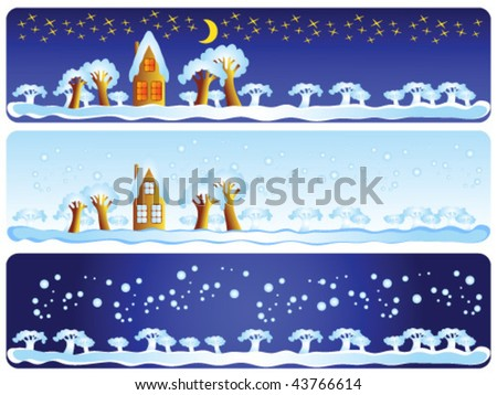 This is a winter landscape: day, night, snow. This is a set of decorative elements.