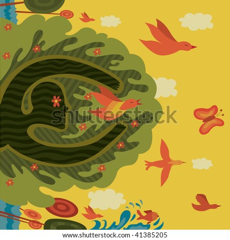this is an illustration about a tale world - stock vector