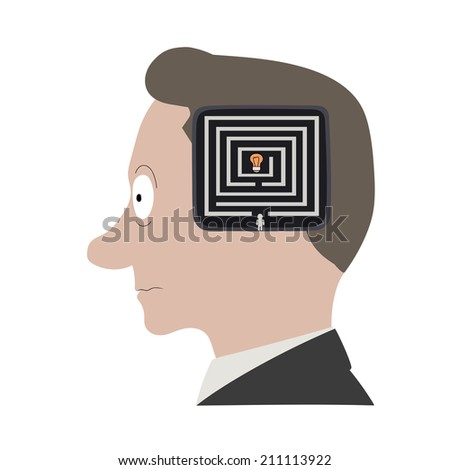 This is an illustration of thinking process - stock vector