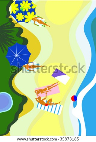 This is kind of a sea beach from above - stock vector