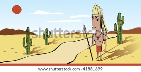 This is native American Indian warrior in a cartoon style - stock vector