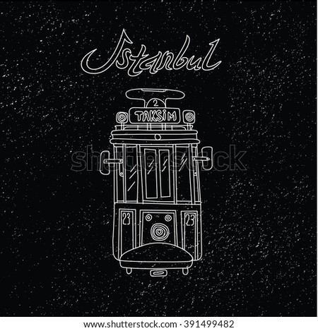 This is perfect linear handdraw style illustration of Istanbul topic. The most famous landmark. Perfect for web, banners, advertising and at you will. Vintage tram Taksim street - stock vector