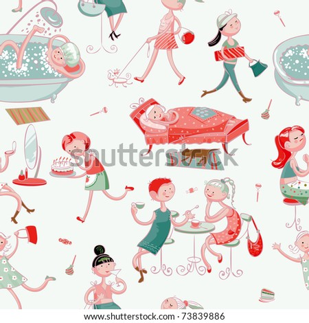 this is seamless ornamental pattern for women kids, magazines , web sites, textile industry - stock vector