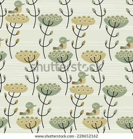 this is seamless pattern birds and flowers - stock vector