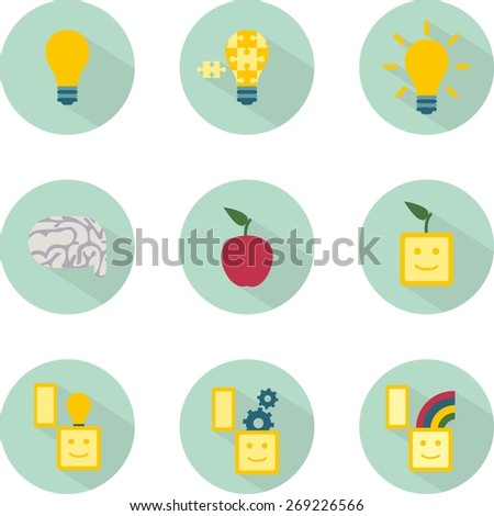 This is set of flat design icons of ideas topic including 3 kind of bulb:general, puzzle and with rays; brain, apple, abstraction idea,3 box with lamp, gear, rainbow You can use it for web or at will. - stock vector