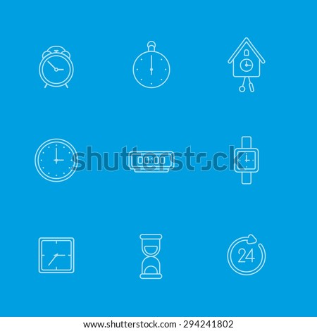 This is set of flat linear icons clock topic tith background including service, timer, cuckoo clock, hair, round-the-clock, alarm, sand clock. Useful icons for infographics, presentation and web site. - stock vector