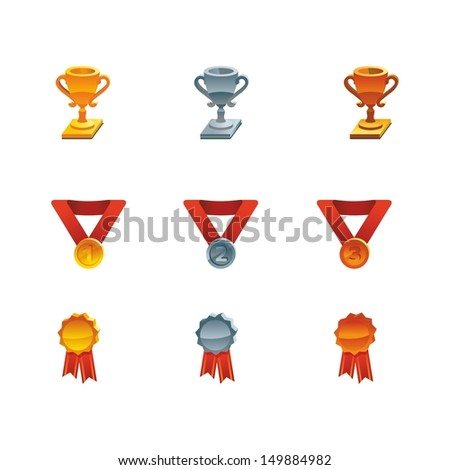 This is set of isometric design icons of award topic including gold, silver and bronze winners cups, medals and medallion. It'll usefully for web and print.