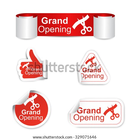 This is set of stickers - grand opening - stock vector