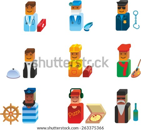 This is set of volume design icons of job topic. There are 9 volume icons, including doctor, dentist or surgeon, police, handyman, waiter, peddler, artist, biker, sailor. - stock vector