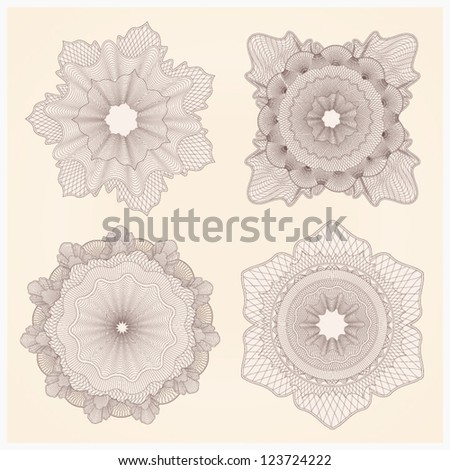 This is set of watermarks. Guilloche pattern for banknote, diploma, certificate, note, currency, voucher or money design. EPS 8 - stock vector