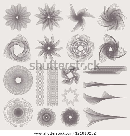 This is set of watermarks. Guilloche vector pattern for banknote, diploma, certificate, note, currency, voucher or money design. EPS 8 - stock vector