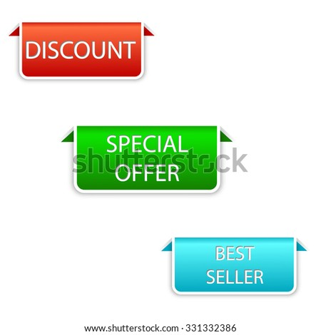 This is vector design set of elements in three colors red, green, blue - discount, special offer, best seller