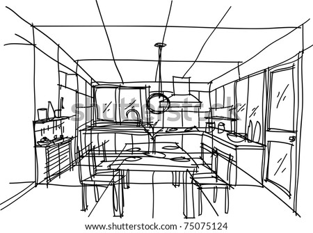 This is vector file of kitchen perspective. sketch on my imagination - stock vector