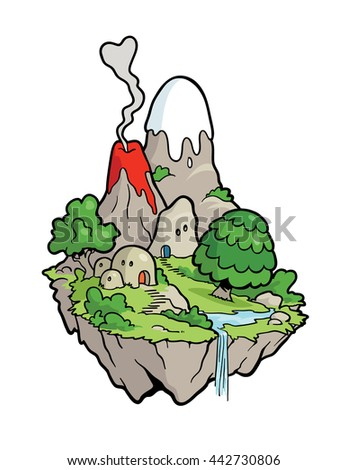 This Island Urf. A small floating island, as might be seen of the shores of the planet Urf. - stock vector