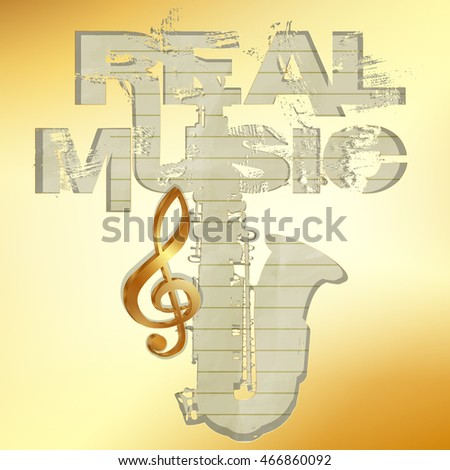 This music is a gold pattern with saxophone and text golden treble clef, old paper on gray background cutout.
