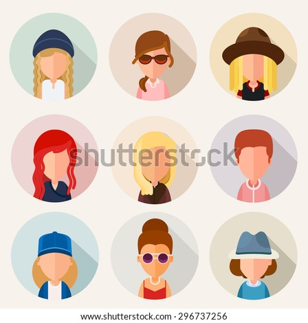 This set of stylized, simplified cartoon characters of girls. In the flat style. For avatars. Set N3. eps8 - stock vector