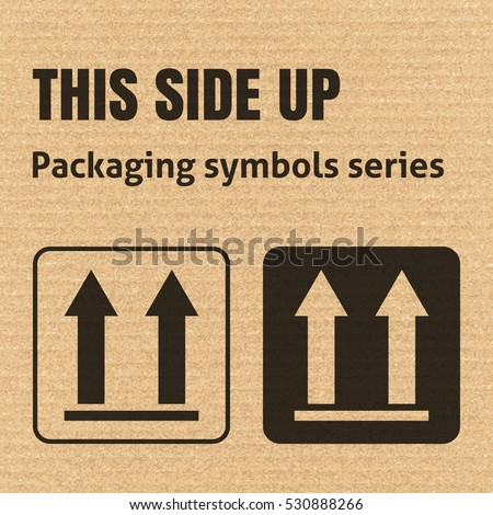 THIS SIDE UP packaging symbol on a corrugated cardboard background. For use on cardboard boxes, packages and parcels. EPS10 vector illustration
