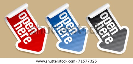 This side up, packing stickers set - stock vector