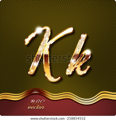 K Letter In Gold This stylish gold cursive letters. There are inlaid with a capital