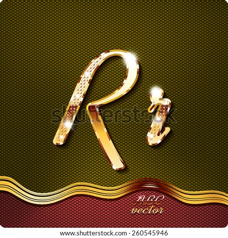 """This stylish gold cursive letters. There are inlaid with a capital """"R"""" and the lowercase letter """"r"""". They have shadows and highlights.The rest of numbers and letters of the alphabet in my portfolio. - stock vector"""