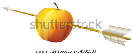 """This vector picture represent a """"Tell's"""" apple with the arrow :) - stock vector"""