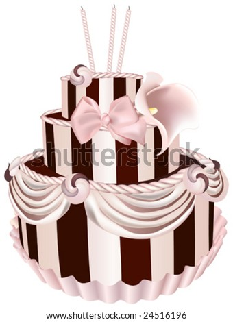This vector picture represents a birthday cake - stock vector
