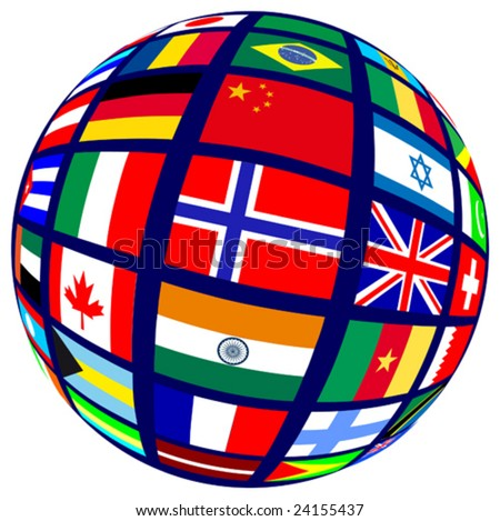 This vector picture represents a earth with flags - stock vector