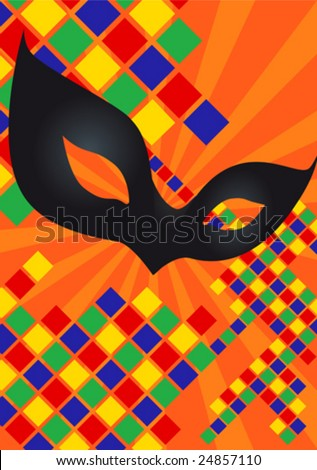 This vector picture represents a Harlequin carnival mask - stock vector