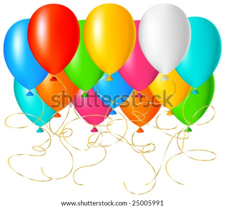 This vector picture represents a many colored balloon