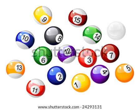 This vector picture represents a numbered balls of billiard - stock vector