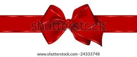 This vector picture represents a red bow for christmas present or valentine day