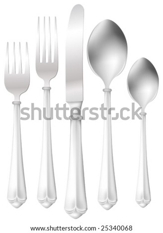 This vector picture represents a silver dinner set (fork, knife and spoon). - stock vector