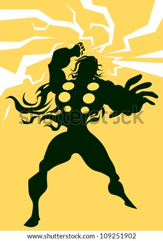 Thor, Black Silhouette of a Man, with Lightning Bolts, Yellow Background, vector illustration - stock vector