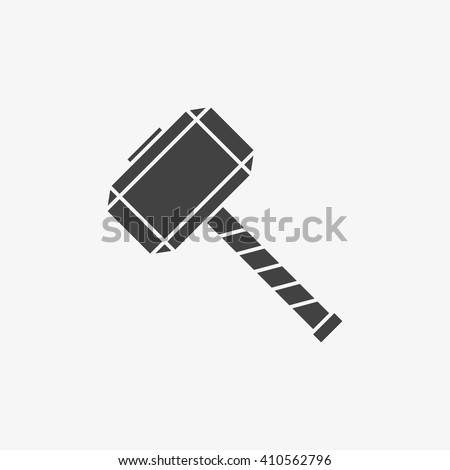 thor hammer logo. thor hammer icon in trendy flat style isolated on grey background, for your web site logo