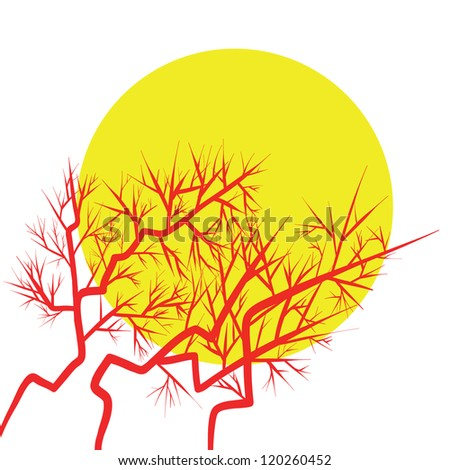 thorny branches and full moon vector - stock vector
