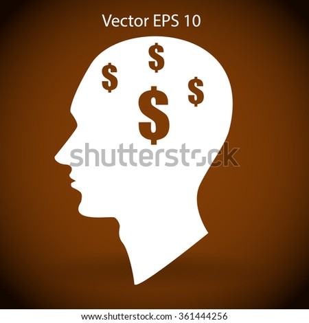thoughts about money vector illustration