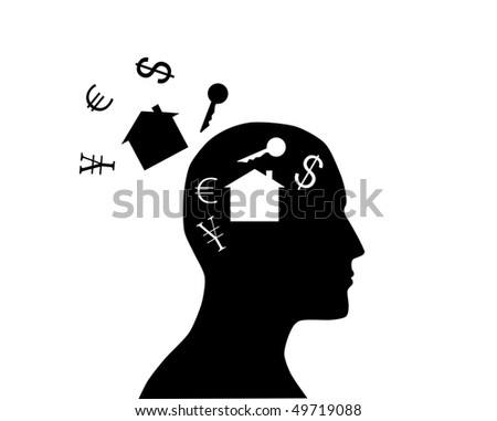 Thoughts about new house - stock vector