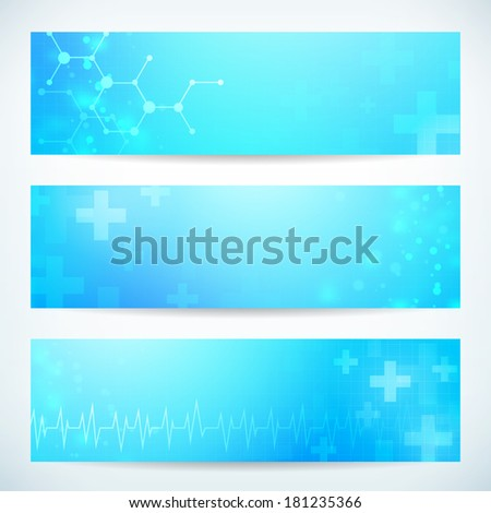 three abstract medical technology banner vector background for web or print. layered. - stock vector