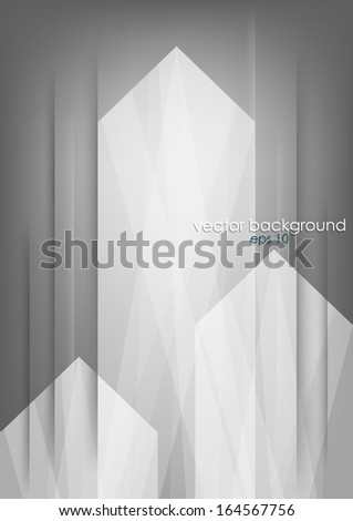 Three abstract white arrows on grey vertical background. Vector version. - stock vector