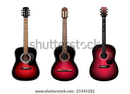 Three acoustic guitars on a white background - stock vector
