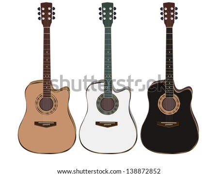 three acoustic guitars on a white background. Vector illustration - stock vector