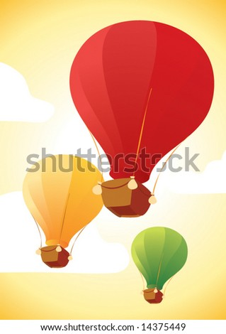 three air color big balloon in the sky - stock vector