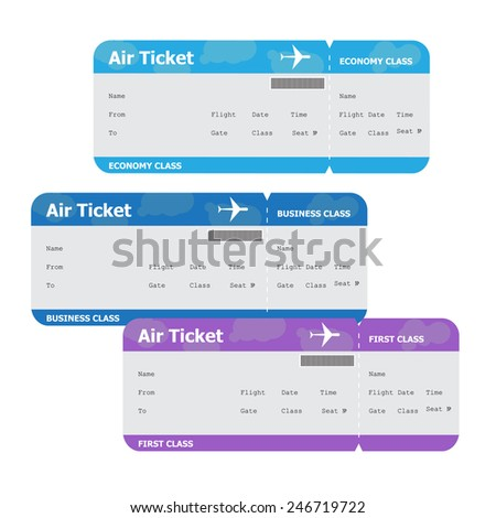 Three air tickets isolated on white background - stock vector