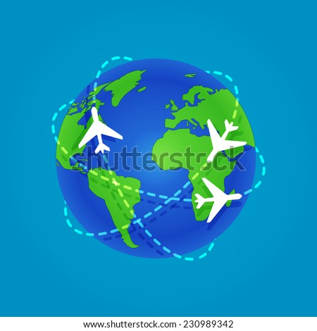 Three Airplanes flying around a globe isolated on blue background. Flat stock vector illustration - flights. EPS10 - stock vector