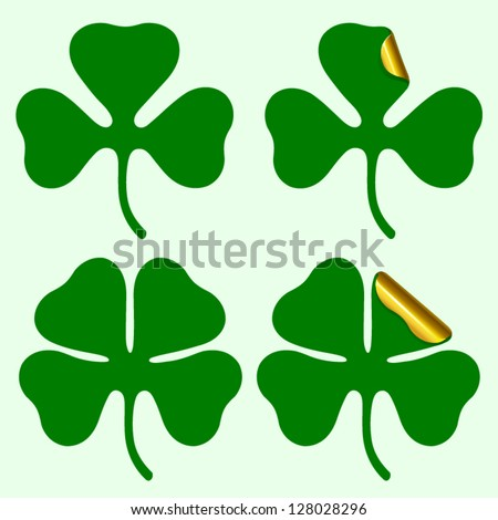 Three and four leaf clover silhouette, plus sticker with curled corner Vector illustration - stock vector