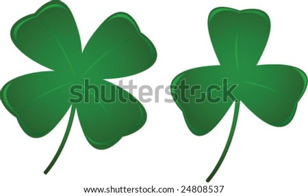 Three and Four Leaf Clovers - stock vector